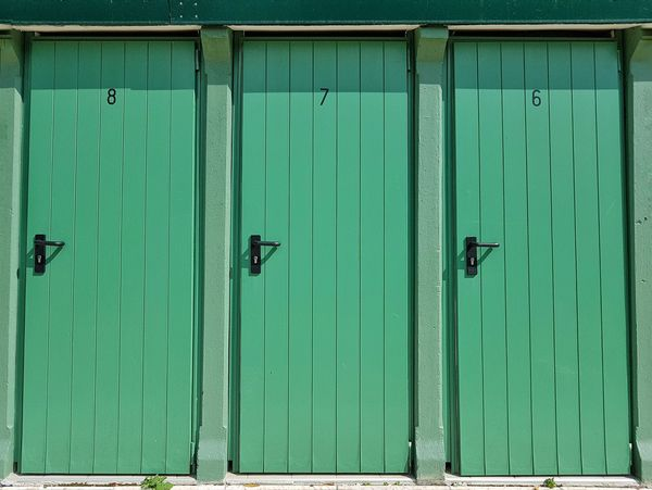 Green Color Outdoors Backgrounds Building Exterior Close-up Built Structure Wood - Material Doors Beach Cabin Repetition Green Doors Three Doors Summer Sommergefühle