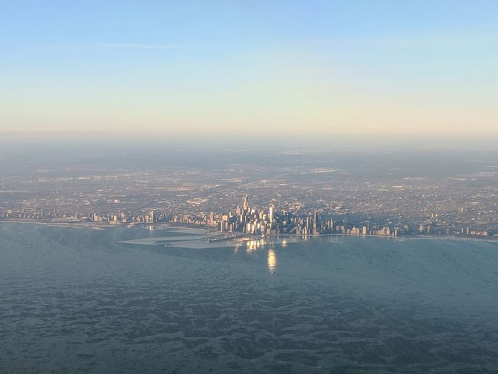 Aerial view of chicago cityscape along waterfront