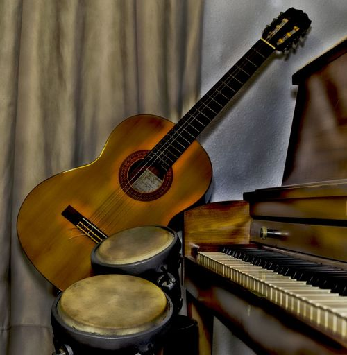 Fine Art Photography Art Arts Culture And Entertainment Close-up Cover Art Day Drums Drums Cover Fine Art Guitar Indoors  Jazz Music Music Musical Equipment Musical Instrument Musical Instrument String No People Piano