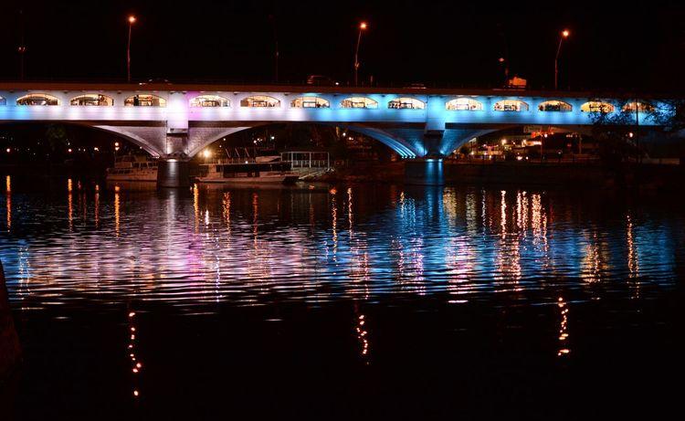 Bridge of lights Iluminado Lake Lago Noche Agua Luces Puente Colours Shiny Lights Illuminated Water Bridge Connection Night Bridge - Man Made Structure HUAWEI Photo Award: After Dark
