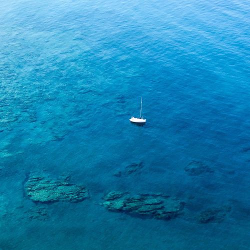 High angle view of sailboat on sea
