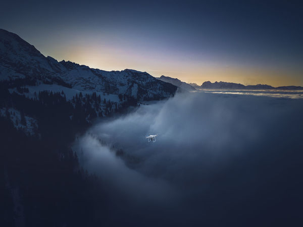 This is a picture I made with my Mavic from my Phantom 4 Pro. Bavaria Drone  Aerial Aerial Photography Aerial View Beauty In Nature Cold Temperature Day Fog Germany Landscape Mountain Mountain Range Nature No People Outdoors Scenics Sky Sunset Tranquil Scene Tranquility Transportation Tree Winter Go Higher