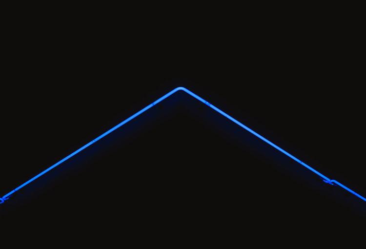 Abstract Black Background Black Color Blue Close-up Copy Space Dark Design Geometric Shape Illuminated Indoors  Light - Natural Phenomenon Lighting Equipment Neon No People Pattern Shape Single Object Studio Shot Triangle Shape