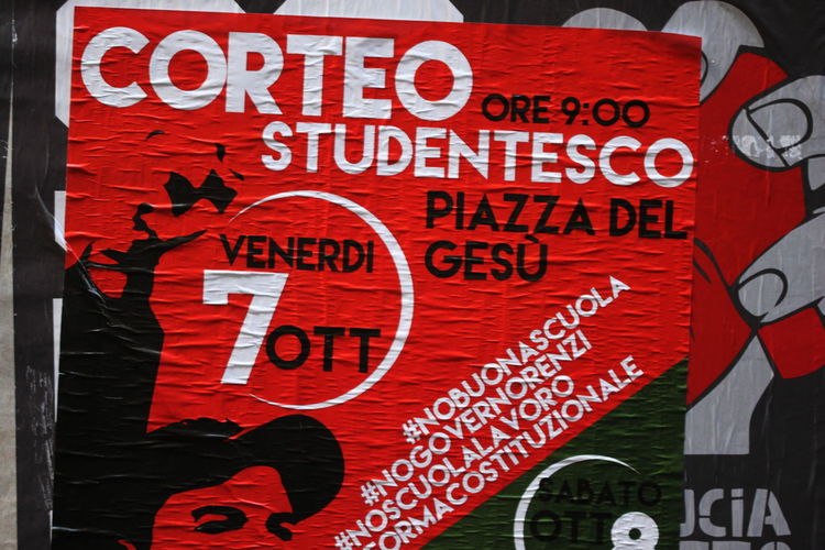 Close-up Day Italy Napoli No People October 2016 Outdoors Poster Red Student Protest Text