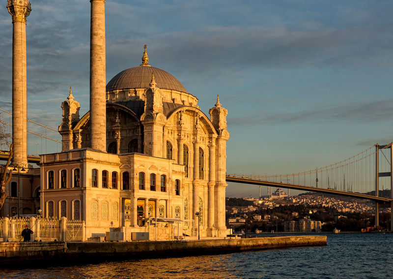 Ortakoy Camii Historical Sights Istanbul Ortaköy Place Of Worship Turkey Architecture Bosphorus Bridge - Man Made Structure Building Exterior Built Structure City Dome Historical Place History Minarets Ortaköy Mosque Ortaköycamii Religious Architecture Sky Suspension Bridge Tourism Travel Destinations Water