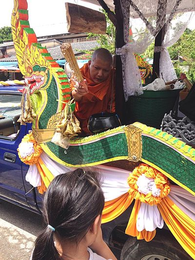 End of Buddhist Lent Southern Of Thailand Make Merit Monk  Buddhism Buddhist Holy Water Real People Women Lifestyles Females Leisure Activity One Person Adult Child Outdoors Girls