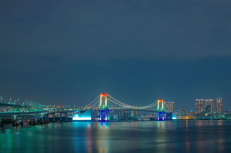 Illuminated bridge over river with city in background