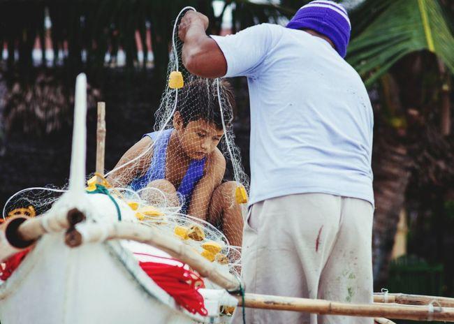 Untangled Fishermen Kid Fishnet Livelihood