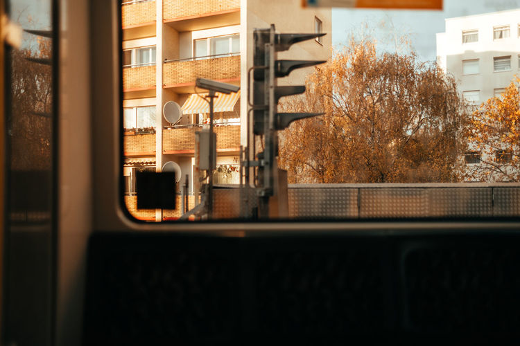View of train through window