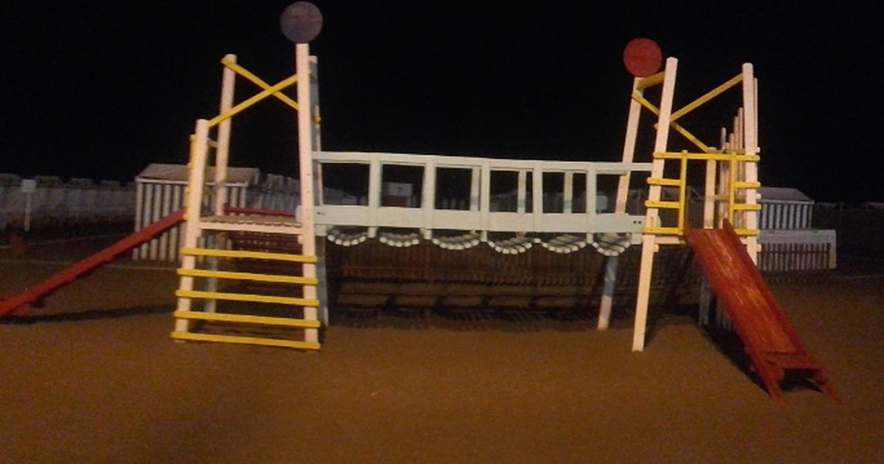 night, no people, outdoors, sky, boxing ring