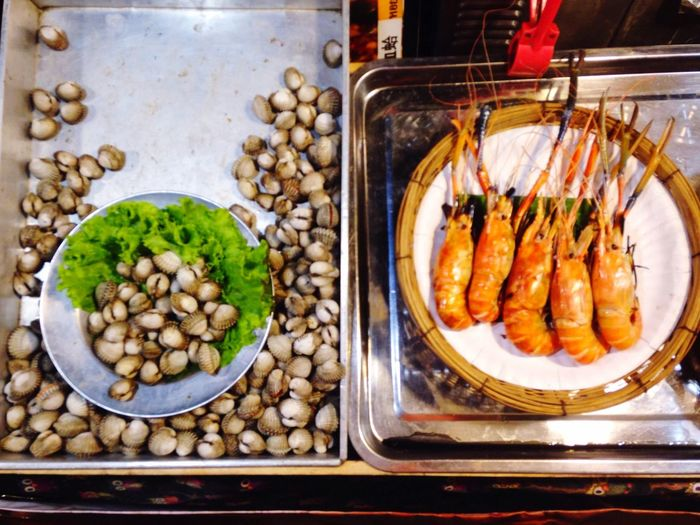 High angle view of seafood in container