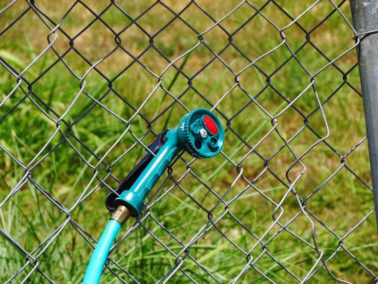 Blue No People Outdoors Day Nature Juankstep Metal Gardener Hose Net Water Gun