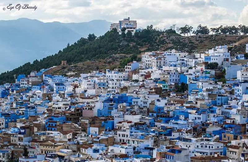 EyeEmNewHere Travel Destinations Mountain Morocco_travel Morocco Beauty Chefchaouen Chefchaouen Rif Mountains Maroc Blue Morocco Photography Social Issues Outdoors City Cloud - Sky Tree Sky Community Architecture Day First Eyeem Photo