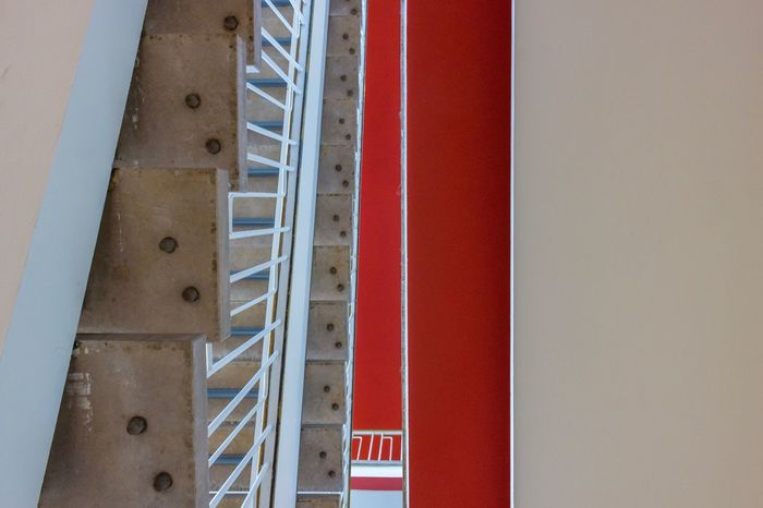 Waiting for the lecture to start. EyeEm Selects Architecture Built Structure Building Interior Ceiling Stairs Red