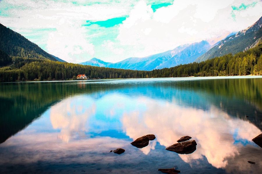 Lake Mountain Reflection Cloud - Sky Sky Tranquility Nature Scenics Water Tree Tranquil Scene Outdoors Beauty In Nature Day Mountain Range No People Forest Landscape Travel Destinations EyeEm Selects