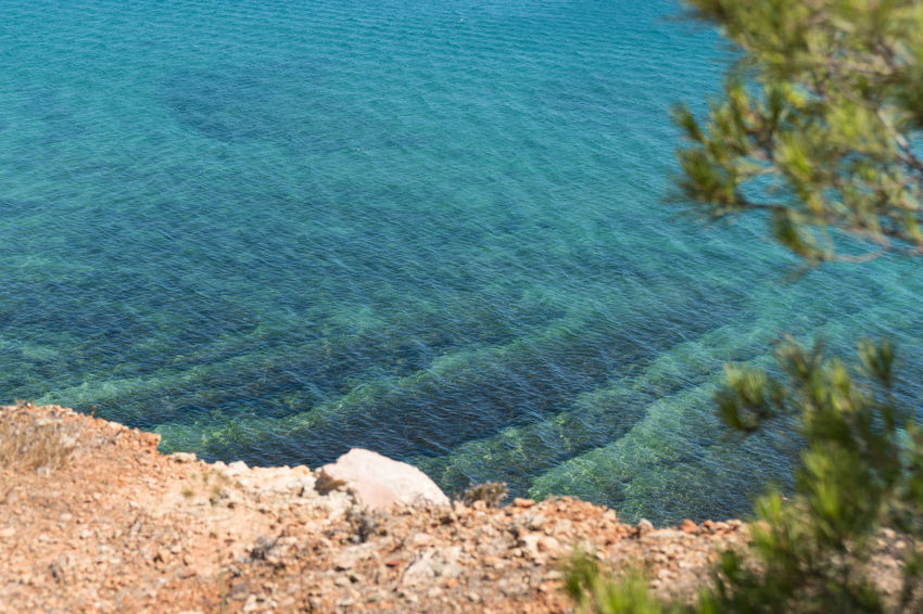 Algarve Water Beach Beauty In Nature Blue Day High Angle View Idyllic Land Nature No People Outdoors Plant Purity Rock Scenics - Nature Sea Summer Tranquil Scene Tranquility Turquoise Colored Water