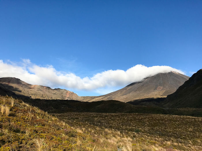 An afternoon shot of Mount Ngauruhoe Blue Clear Sky Cloud Doom Grass Hills Mordor Mountain Range Ngauruhoe Shadows Sky Walking