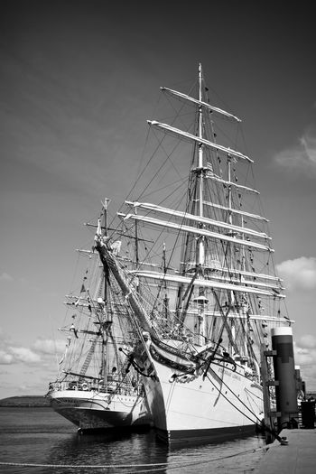 Tall Ships Boatrace 2018 Black & White EyeEm Best Shots EyeEm Selects EyeEm Gallery Harbor Black And White Blackandwhite Blackandwhite Photography Cloud - Sky Competition Eye4photography  Mast Moored Nautical Vessel No People Non-urban Scene Sailboat Sailing Sailing Ship Sailor Sea Ship Side By Side Tall Ship Water