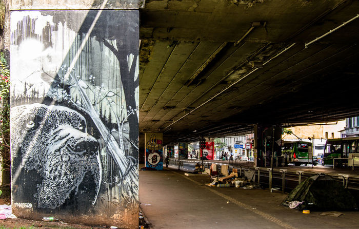 The contrast of São Paulo: beautiful graffiti and extreme poverty. Brazil Built Structure Day Graffiti Indoors  No People Poor  Santa Cecilia São Paulo Transportation Resist EyeEm Diversity The Street Photographer - 2017 EyeEm Awards