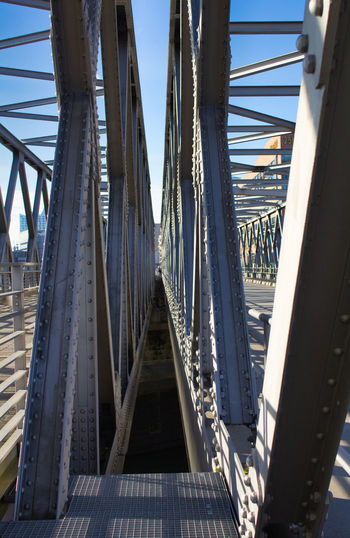 Connection Bridge Architecture Built Structure Bridge - Man Made Structure Transportation Nature Day Sky Metal Engineering Outdoors Diminishing Perspective Water The Way Forward Sunlight Railing Railway Bridge Direction Steel Girder Long