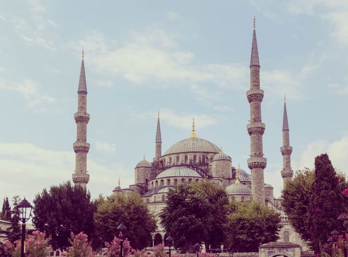 Low angle view of sultan ahmed mosque against sky