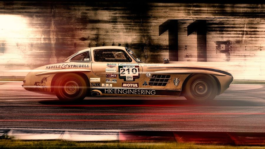 Benz Mercedes Race Composing Flügeltürer W198 Oldtimer Gullwing Sl300 Car Motor Vehicle Transportation Retro Styled Auto Post Production Filter Vintage Car No People Wall - Building Feature Street First Eyeem Photo