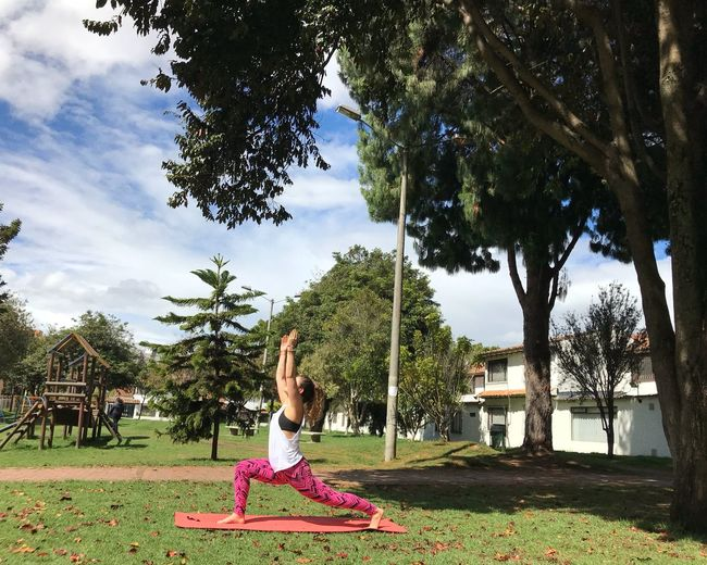 Yoga outside Warrior Pose Yoga Girl Yoga Pose Yoga Plant Tree One Person Nature Real People Leisure Activity Full Length Green Color Outdoors Day Sky Park Women Lifestyles Sunlight