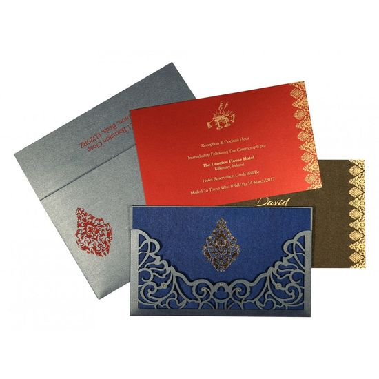 The beauteous designs of Designer Wedding Cards, Damask are sure to offer you a delightful treat. The ultimate selection of smoke blue color is certainly the best fit for the wedding card. The card has been constructed out of fine shimmer paper that assures a great quality and look. https://www.a2zweddingcards.com/card-detail/AD-8262E Designer Wedding Cards Online, Designer Wedding Cards, Designer Wedding Invitations Designer Wedding Invitations, Wedding Cards Wedding Invitation Wedding Invitations Weddings