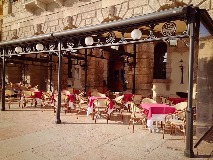 Verona Verona Italy Veneto Italy Piazza Bra Chair City Sidewalk Cafe Architecture Old Town Building Exterior Empty Outdoors Built Structure City Life Travel Destinations Table No People Day 17/365 Day 17 January 17 2017 One Year Project