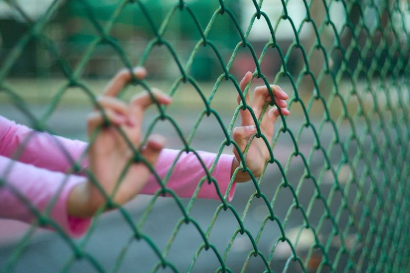 Cropped hands of woman on chainlink fence