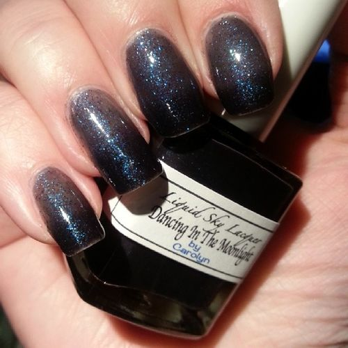 Today 'dancing in the moonlight' - dark base and blue glitter. Dear @whimsicalcolor - I am in love - and imagine my squeal of surprise when I realized it's a thermal. Thank you so much. Indiepolish Nailpolish Indiemusthaves Indie Nofilter Notd Nailsofinstagram Nails Liquidskylaquer