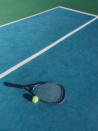 High angle view of ball and basketball hoop