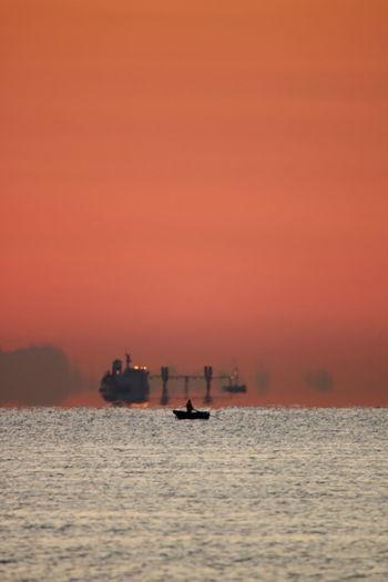 Apulia Italy Italia Puglia Fisherman Freight Transportation Giovinazzo Nautical Vessel Nicola Ranieri Outdoors Sea Ship Silhouette Sunrise Tranquility Water