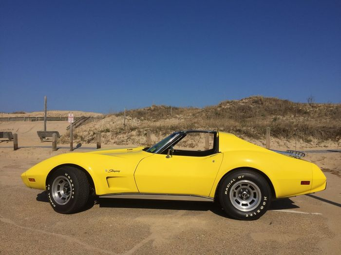 Car Yellow Clear Sky Transportation Land Vehicle Mode Of Transport No People Outdoors Day Nature Racecar Motorsport Chevy Chevrolet Stingray Muscle Cars Outer Banks, NC OBX
