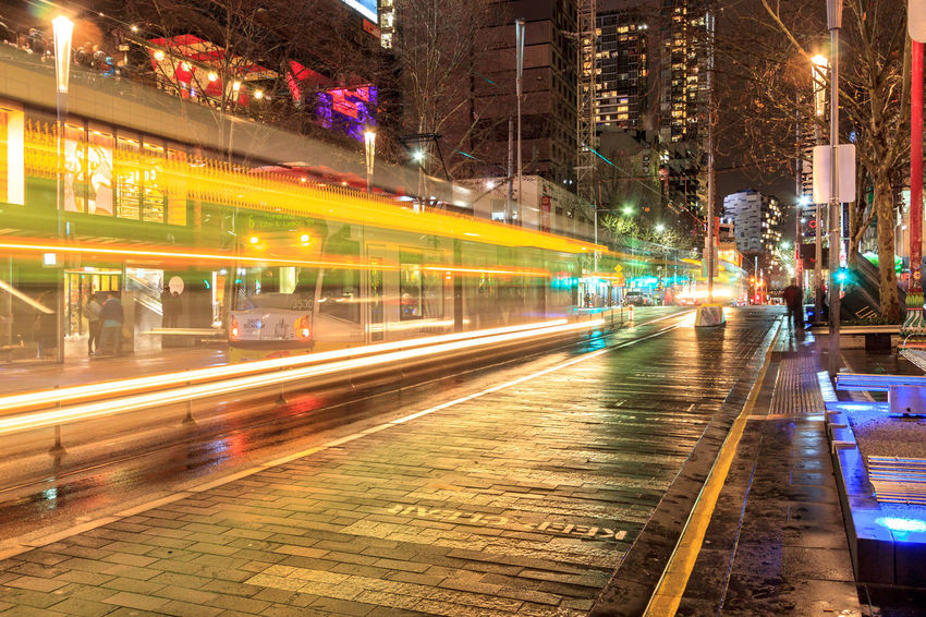 Tram light trails in front of Melbourne Central Architecture Blurred Motion Building Exterior Built Structure City High Street Illuminated Light Trail Long Exposure Motion Night No People Outdoors Speed Transportation