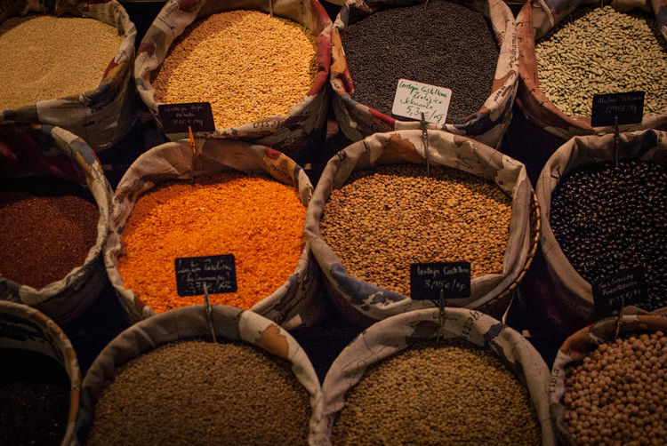 Full frame shot of spices and dries beans for sale at market stall