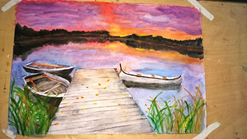 This painting as a gift for my friend :-D My Painting Love To My Friends Autumn🍁🍁🍁 At Dusk Lake View Dock
