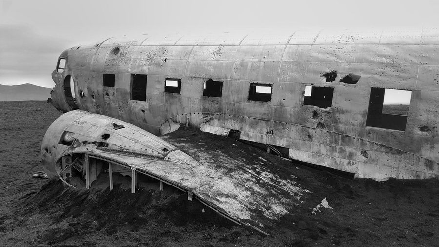 Abandoned airplane on beach