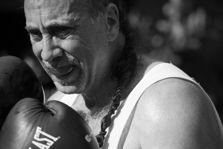 Mature Man Boxing Outdoors