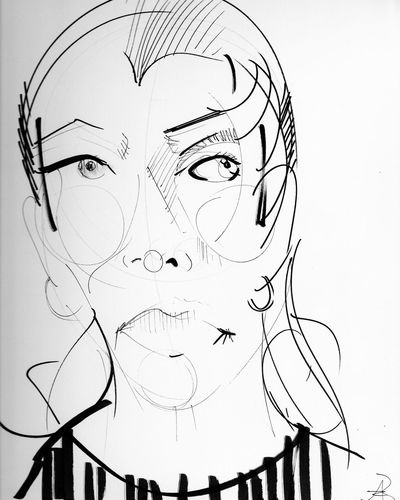 thirteen... I went to Underground Arts in Philadelphia last night, and had my portrait done by the amazingly tanlented Androo Robb Androo Robb B & W By Yeli Lines Contrast Black And White Portrait Abstract Line Drawing