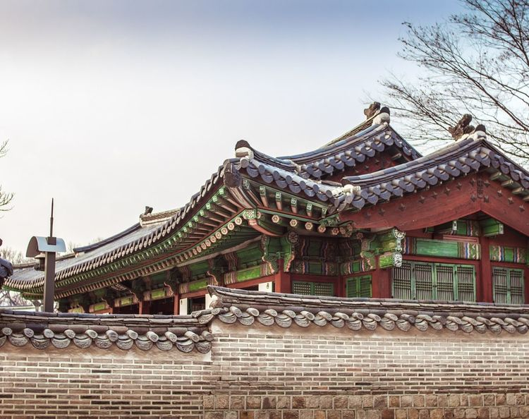 Architecture Roof Religion History Built Structure Cultures Tradition Travel Destinations No People Day Building Exterior Place Of Worship Outdoors Nature Road Sky Winter Cold Temperature Asian Culture Korean Style Palace Of Culture Korea Temple Changduk Palace Korea Traditional Architecture Korean Traditional Architecture