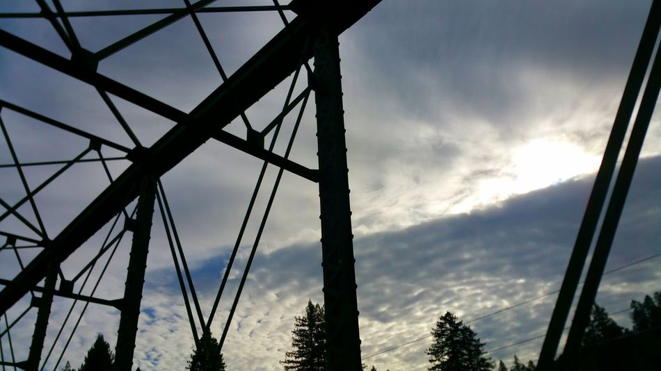 Bridge Struts Struts Clouds Contrast Dramatic Steel Cable Silhouette Cloud - Sky Bridge Zen Copy Space Backgrounds Strength Strong Purposeful Determined Intentional Technology Cumulus Outdoors
