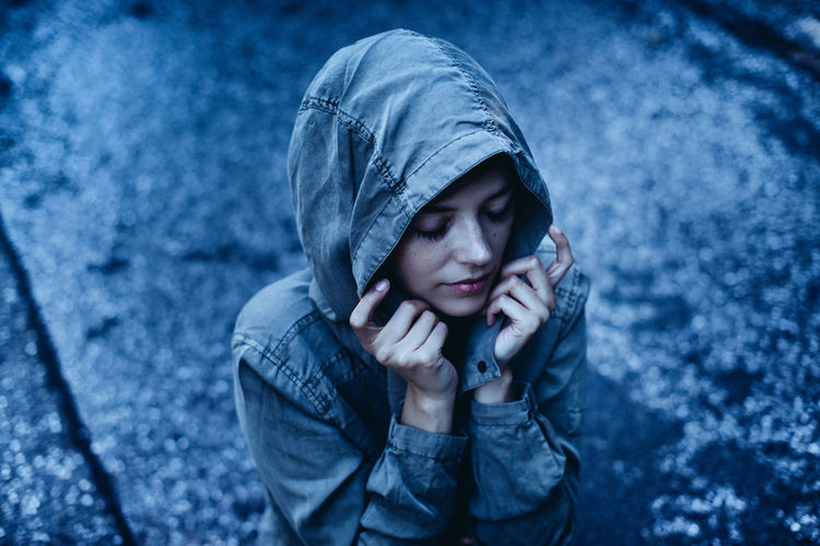 Adult Cold Temperature Day Depression - Sadness Distraught  Females Hamburg Hood - Clothing One Person Outdoors People Rain Snow Teenager Warm Clothing Winter Young Adult The Portraitist - 2018 EyeEm Awards