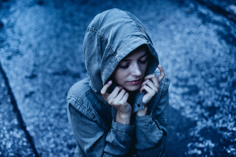 Adult Cold Temperature Day Depression - Sadness Distraught  Females Hamburg Hood - Clothing One Person Outdoors People Rain Snow Teenager Warm Clothing Winter Young Adult