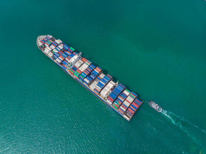 High angle view of freight transportation on sea
