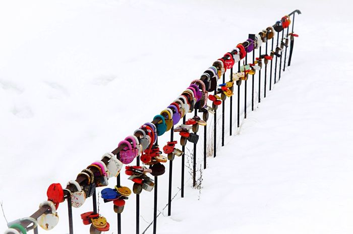 Multi Colored Large Group Of Objects In A Row Love ♥ Love Padlock Meaningful  Meaning Colorful