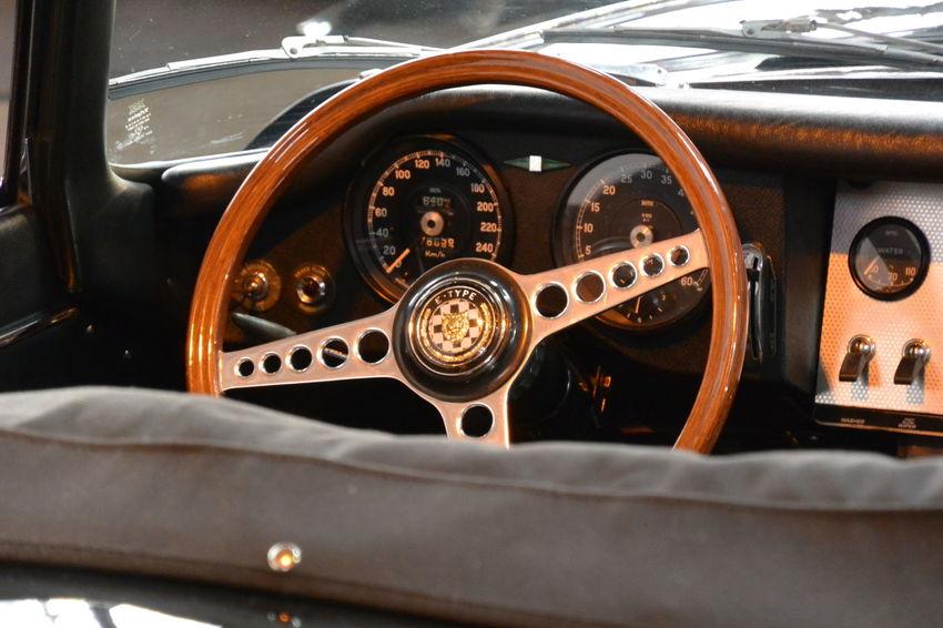 British Car Car Car Interior Close-up Cockpit Collector's Car Dashboard JAGUAR Jaguar E-Type Paris International Motor Show 2016 Steering Wheel Vehicle Interior My Year My View
