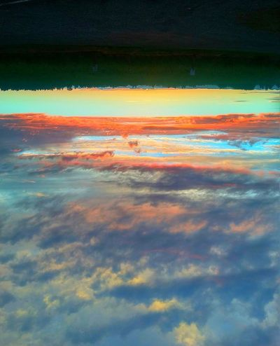 Confusion Upside Down Clouds And Sky Orange Color Blue Color Backgrounds Sunset Full Frame Sky