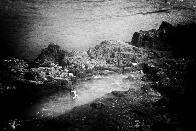 ln Eurobodalla, The South Coast, Australia 4/22/2017. B&w B&W Collection B&W Collections B&w Photo B&w Photography B&W_collection Cliff Embrace Embrace The Moment High Angle View Hug Hugs In Love In Love ♡  In Love ❤ Intimacy Intimate Intimate Moment Live For The Story Love Lovers Rock - Object Sea Water Wave