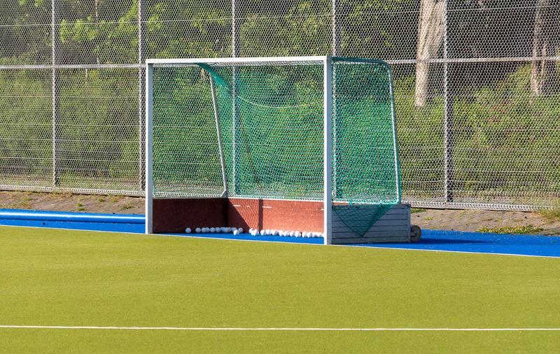 Goal post on soccer field
